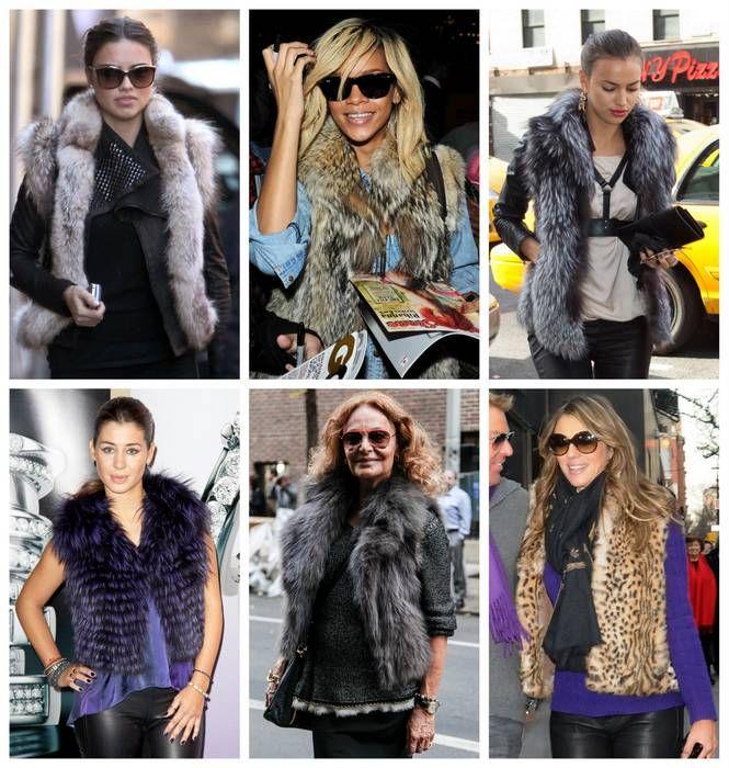 Copia el street style de la famosas con un chaleco de piel #must de la temporada