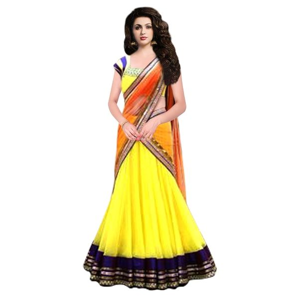 Buy Designer Yellow Colour Net With Embroidery Work Semi-Stitched Lehenga Online at cheap prices from Shopkio.com: India`s best online shoping site