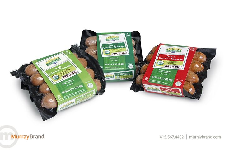 Harvestland organic sausage packaging design by Murray Brand Communications