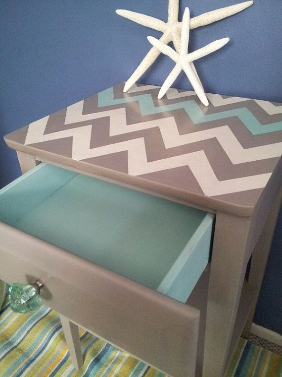 Charming & Fun Chevron Vintage Side, End Table in Quality Annie Sloan Products on Etsy, $89.00