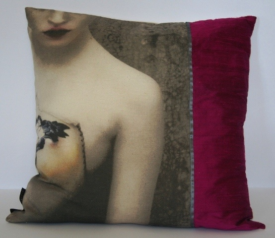 'Stargazer girl' cushion close-up