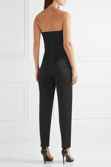 Alice Olivia - Jeri Embellished Crepe De Chine Jumpsuit - Black - US10