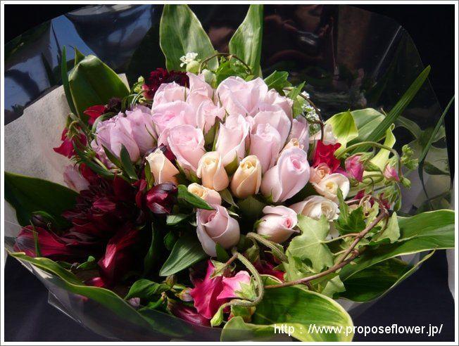 甘いピンクの花束 pink rose bouquet