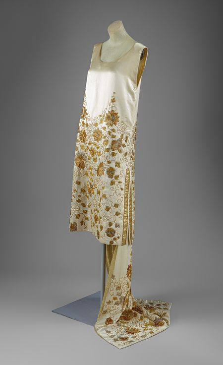 House of Worth Vintage dress 1920s silk glass and metallic dress