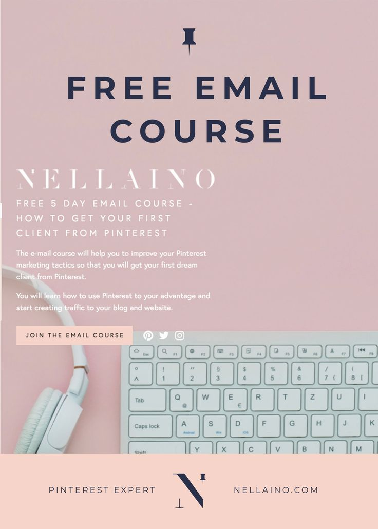 Learn how to get clients from Pinterest. A free 5-day Pinterest email course with action steps! Visit www.nellaino.com to read more and join the course! #pinterest #pinterestcourse #emailcourse #freecourse #socialmediamarketing #howtogetclients