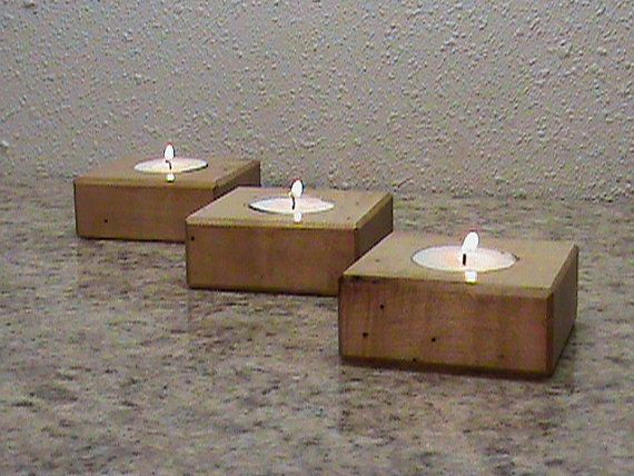 Wood Tea Light Holder Set OF Three  Cadle by JacksHomeandGarden