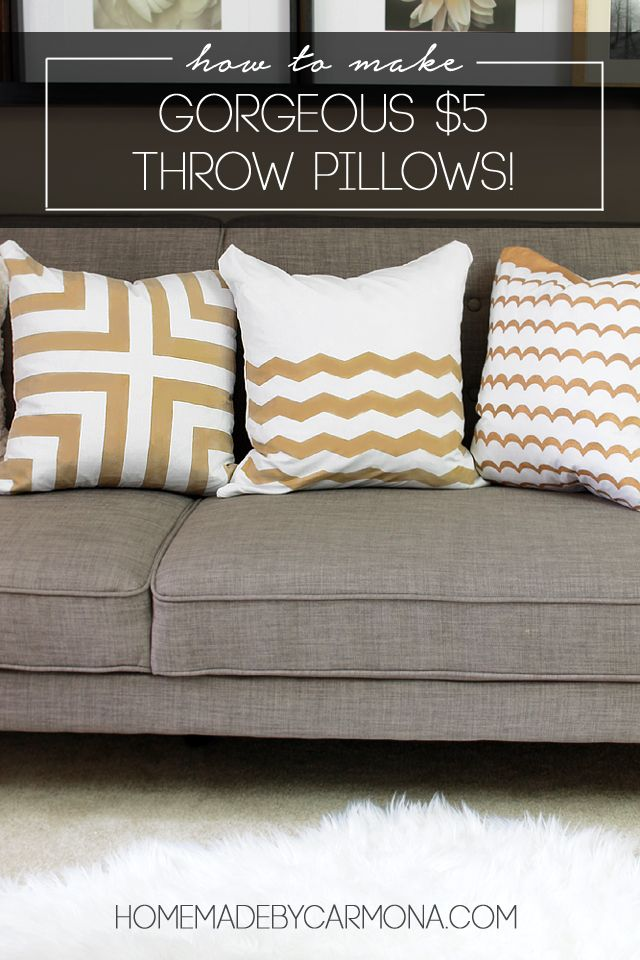 How To Make Gorgeous $5 Throw Pillows-detailed instructions using painters tape, pillow protectors and paint...and pillows are washable