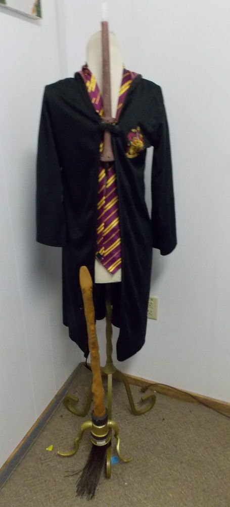Harry Potter Rubies Gryffindor Robe Tie & Broom & Electronic Wand Costume Size M