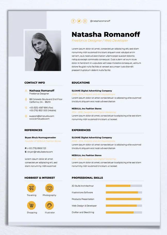 Minimalist Cv Resume Vol 43 By Rahardicreative On Envato Elements Resume Design Creative Minimalist Resume Template Resume Template