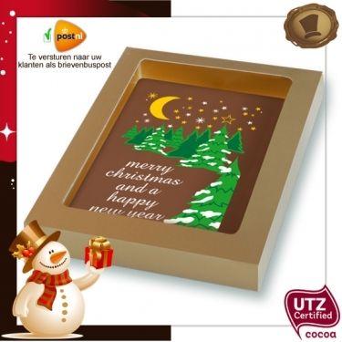 Kerstkaart / tablet standaard / 150 gram.  Smaak Melk of Pure chocolade / Verpakking kleur matgoud. Te bestellen vanaf 20 stuks  #chocolade #kerst #geschenk