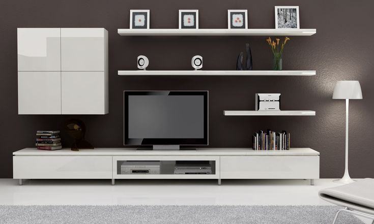 simple built in entertainment unit with floating shelves
