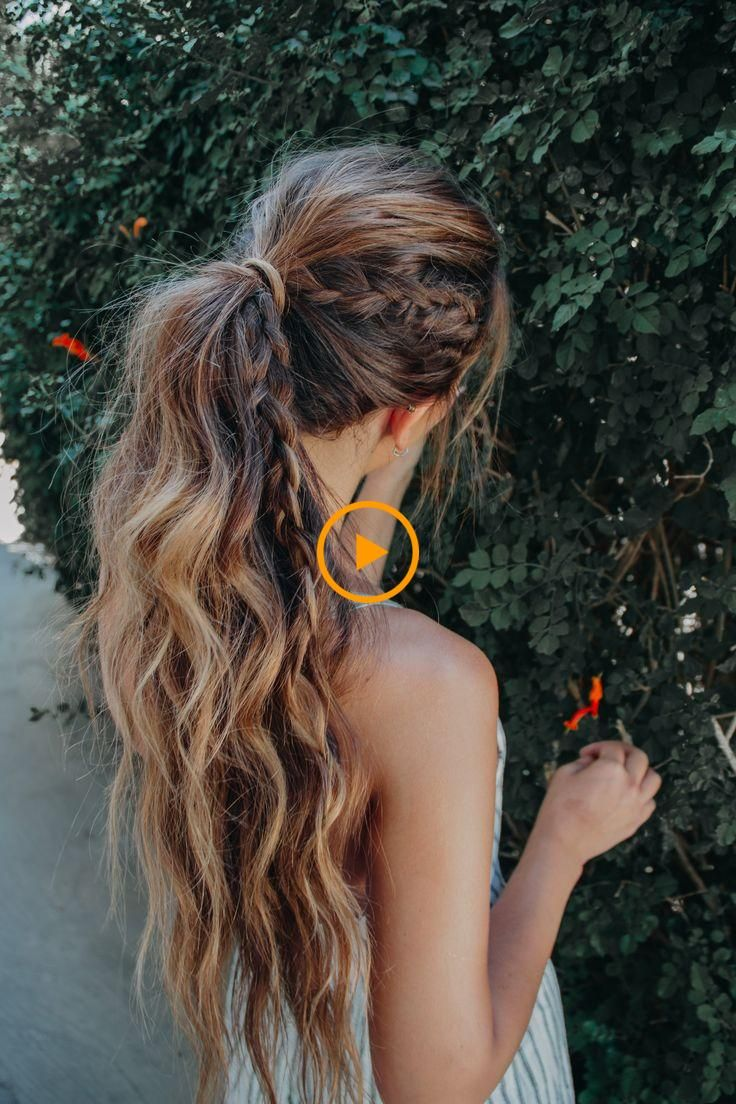 high ponytail bohemian hairstyle for long hair with a braid. messy and easy beac...