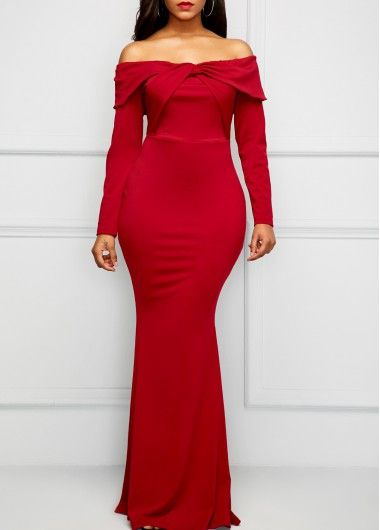 Long Sleeve Wine Red Bardot Maxi Dress | Rosewe.com - USD $32.26