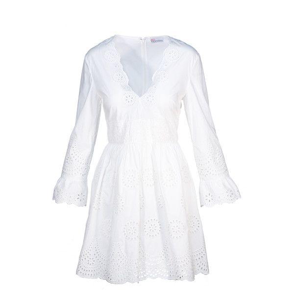 Sale// red valentino - sangallo lace cotton poplin dress in white featuring polyvore women's fashion clothing dresses white dress red valentino lacy dress white lace dress lace dress