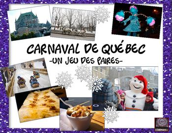 Vive le Quebec! This matching game is played in groups of about 5 students and can be played as a shorter game or a longer one depending upon how many cards you plan to copy for each group of students.  There are 27 pairs of Carnaval related picture cards to use. Great fun!