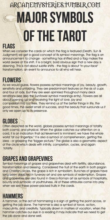 The Tarot Sybarite — arcanemysteries: Major Symbols Of The Tarot.