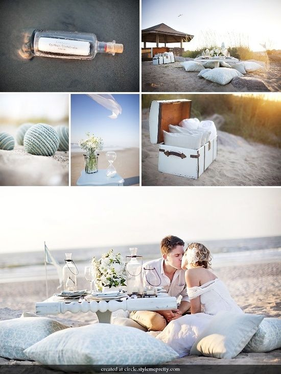 """Summer Beach Wedding Have a summer beach wedding with your closest friends and family members. Ask that everyone dress in beach attire and spend the day on the beach. Your reception """"dinner"""" can be a picnic and your entertainment can be beach-style games like volleyball or flying kites. It's a recipe for an enjoyable day and it's perfect for a couple who is laid back and casual. *Photo Source: circle.stylemepretty.com:"""