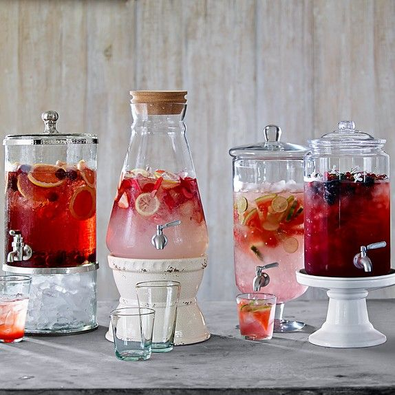 Party drink ideas - mix blackberries into iced tea & garnish with jasmine flowers; stir watermelon wedges & lime slices into fresh limeade; add sliced strawberries, lemons & rhubarb to fresh lemonade; add pink grapefruit rounds and fresh cherries to rose wine sangria.
