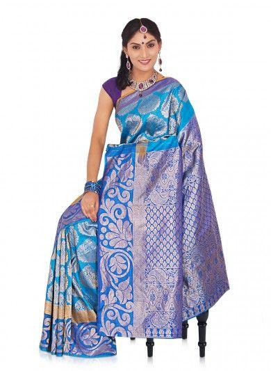 Lake Blue Pure Silk Kanjeevaram Saree