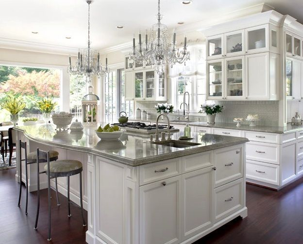 love the double chandeliers, would be gorgeous with white and silver marble countertops!