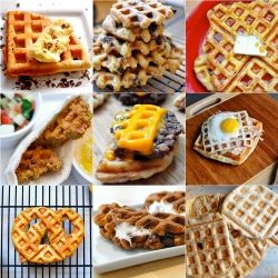 Waffled. All things cooked in a waffle iron.