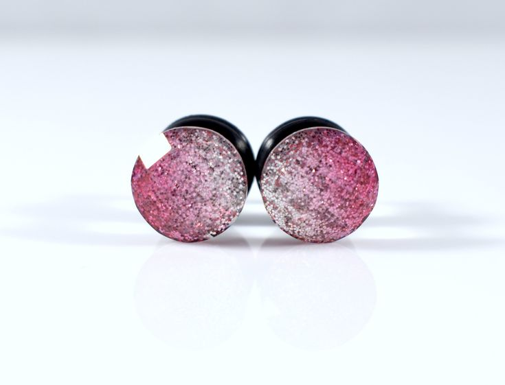 Gauges – Plugs – Pink to White Glitter Fade Sparkle Foil Facet Plugs – Available in 4g, 2g, and 0g