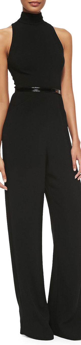 Theia by Don O'Neill ● Sleeveless Crepe Belted Jumpsuit