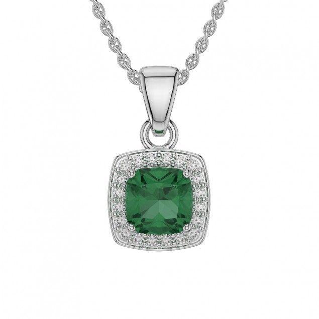 Gold / Platinum Cushion Shape Gemstone Necklace AGDNC-1061