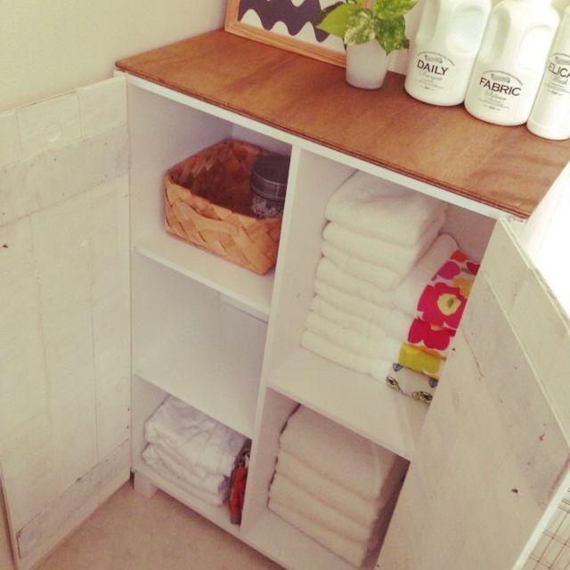ニトリのカラーボックスで出来るオシャレな活用術☆ | RoomClip mag ... バスルームの収納もオシャレに。