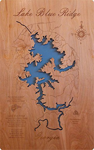 Wood Map Wall Hanging Lake Blue Ridge Georgia Laser Cut