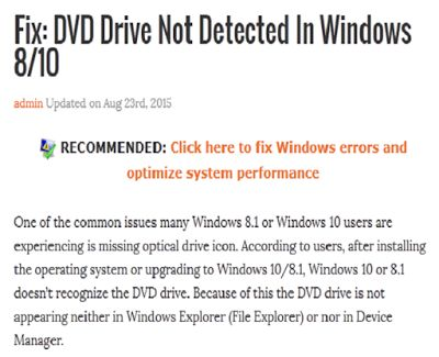 How to fix or solve dvd drive does not found or not detected by Windows 7 8 10