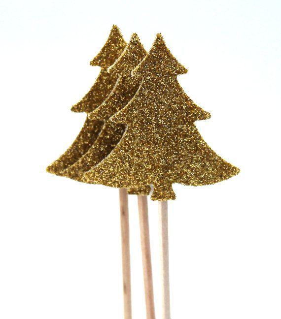 10 Golden Christmas tree Toothpicks Party Picks von ChristianePaper