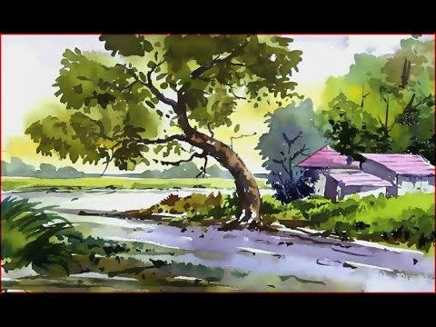 Watercolor Landscape Painting Village Nature Scenery Landscape