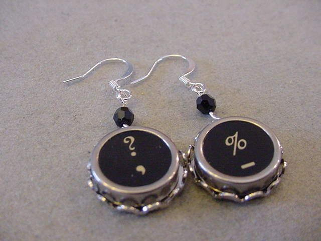 Black Typewriter Key Earrings QUESTION Mark PERCENT Sign Typewriter Key Jewelry by magiccloset on Etsy