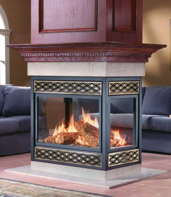 Four sided fire places gas burning fireplace napoleon for Four sided fireplace