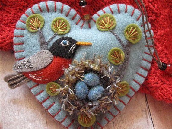 Nesting Robin Ornament by SandhraLee on Etsy