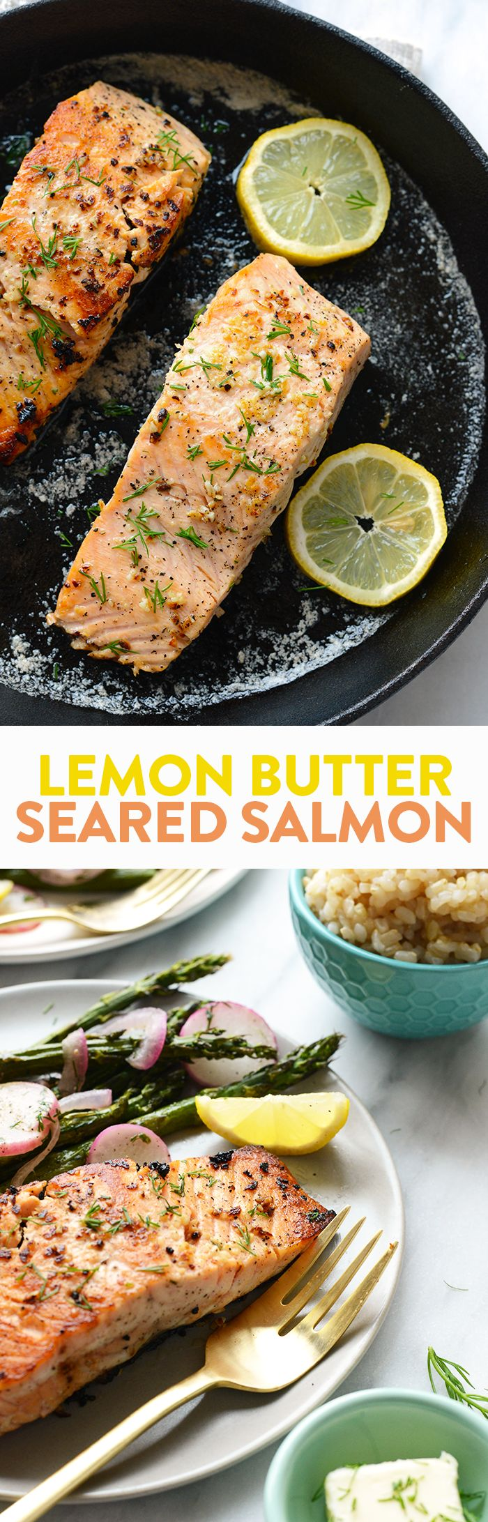 All you need is 5 ingredients and 20 minutes and this Lemon Butter Seared Salmon will be ready for dinner!