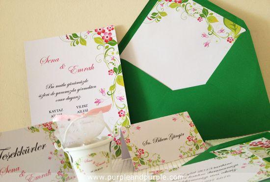 Bahar Coşkusu temalı düğün davetiyesi, nikah şekeri, isim kartı, masa kartı, teşekkür kartı