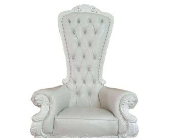 READY TO SHIP! Throne Chair White with White Trim