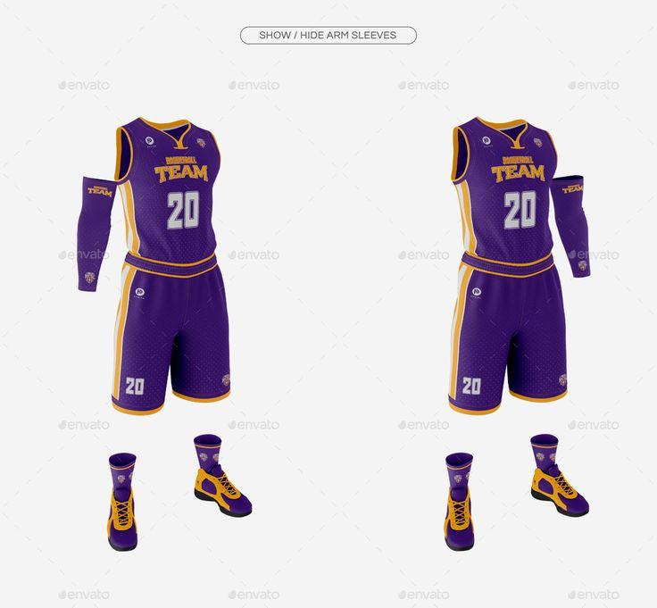 Download Men's Full Basketball Kit Wishbone Collar Jersey Mock up # ...