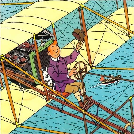 tintin in an old-fashioned aeroplane!