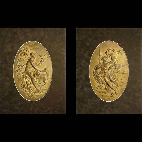 Pair of Austrian Gilt Copper Relief Wall Plaques Mythology