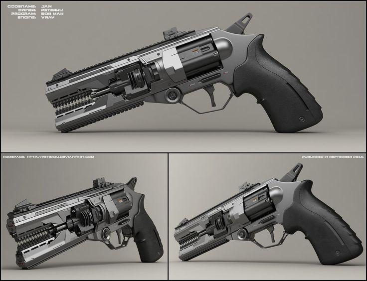 Jaw - concept of sci fi handgun by peterku.deviantart.com on @DeviantArt