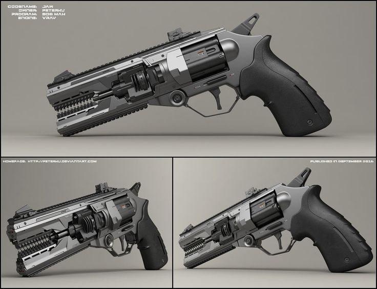 Jaw - concept of sci fi handgun by peterku.deviantart.com on @DeviantArt