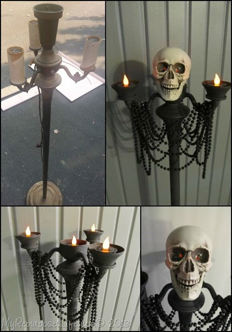 DIY Halloween Candelabra from an antique floor lamp.