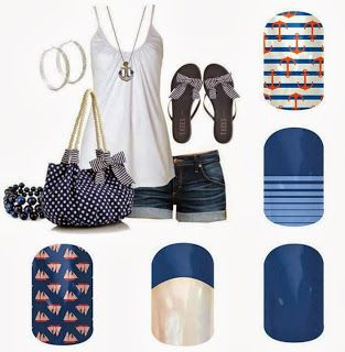 Blue Nautical Nails Outfit Andrea Anderson  - Jamberry Independent Nail Consultant www.andreaanderson.jamberrynails.com www.facebook.com/jamwithandrea
