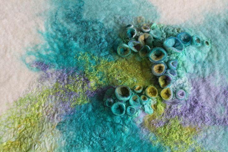 Rae Woolnough, Textile Artist. Shibori Felt detail. #fibre #felt #textile #handmade #handcrafted #artist #australianart #home #decor