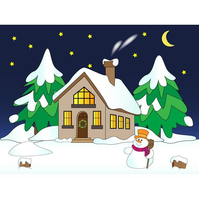 Vector snowman with house winter scene snow falling night ...