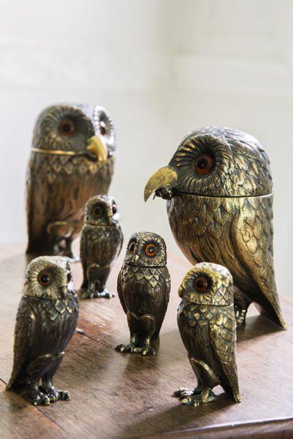 An English silver-gilt owl-form condiment set, Tiffany and Co., 1958. Pinned by www.myowlbarn.com