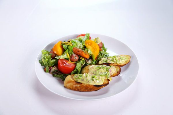 Daphne Oz's and Carla Hall's fresh garden salad and snap pea crostini.